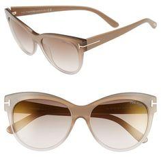 Women's Tom Ford 'Lily' 56Mm Cat Eye Sunglasses - Beige/ Brown Mirror