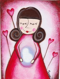 illustration woman on maternity', canvas board, red,heart,hanging, gift, birth, acrylic colors,home decor