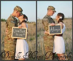 """Pre-deployment session. Might be one of the most beautiful ideas ever.CUte idea for save th date.. his sign would say """"marry me on such and such date"""" and hers will say I Do"""