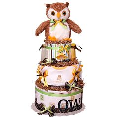 Diaper Cakes for Sale! The widest selection of baby shower diaper cakes Baby Shower Diapers, Baby Shower Gifts, Baby Gifts, Shower Baby, Owl Diaper Cakes, Baby Cakes, Cakes For Sale, Owl Shower, Owl Nursery