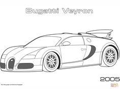 Super Car Buggati Veyron Coloring Page Cool Printable Free