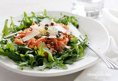 Arugula Salmon Salad with Capers and Shaved Parmesan Recipe Salads with arugula, wild salmon, capers, red wine vinegar, extra-virgin olive oil, parmesan cheese, salt, pepper