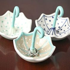 Assorted Style Polka Dot Accented Ceramic Umbrella Ring Holder for Jewelry, Candies, or Even Change