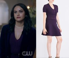 a09a1161cca7 by Comments Veronica Lodge (Camila Mendes) wears this purple v neck fit and  flare dress in this episode of Riverdale