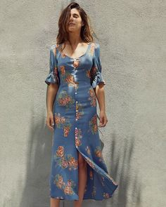 2019 Fashion Women Summer Floral Print Midi Dress Chic V Neck Button-Up Boho Dress Party Flare Sleeve Beach Dress Green Evening Gowns, Evening Gowns With Sleeves, Midi Dress With Sleeves, Short Sleeve Dresses, Dress Outfits, Casual Dresses, Fashion Outfits, Summer Dresses, Fashion Women
