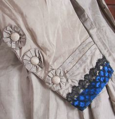 """Hand Sewn Civil War Era Silk Gown w Rosettes C 1860'S 