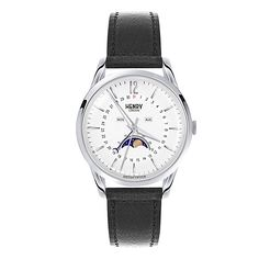 Buy Henry London Unisex Edgware Moonphase Calendar Leather Strap Watch, Black/White from our Women's Watches range at John Lewis & Partners. Moonphase Watch, London Watch, Ladies Of London, Stitching Leather, Watch Case, Westminster, Quartz Watch, Tan Leather, Unisex
