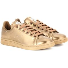 Adidas by Raf Simons Stan Smith Metallic Sneakers ($310) ❤ liked on Polyvore featuring shoes, sneakers, adidas, gold, metallic shoes, gold sneakers, gold shoes and adidas trainers