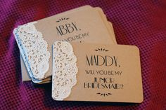 lace doily on craft cardstock Will You Be My Maid of Honor Custom Note Card by postscripts