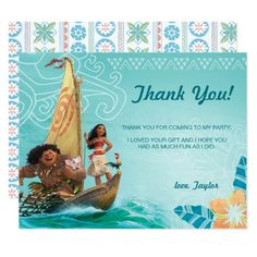 Moana | Oceania Birthday Thank You Card