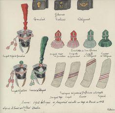 1813, Regno d'Italia, Fanteria, Linea, 3° Reggimento. Distinzioni reggimentali. Italy; 3rd Line Infantry, NCO Distinctions 1813