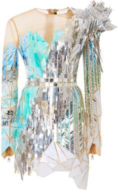 Embroidered Mesh Yoke Dress by Balmain Kpop Fashion Outfits, Stage Outfits, Chic Outfits, Fashion Dresses, Balmain Dress, Mode Chanel, Mesh Dress, Looks Style, Look Fashion