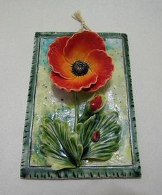 Beautiful ceramic decoration by Artceramic on Etsy Ceramic Wall Art, Ceramic Decor, Ceramic Clay, Tile Art, Hand Built Pottery, Slab Pottery, Pottery Clay, Ceramic Flowers, Clay Flowers
