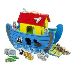 All aboard! Children will adore this brightly painted ark play set which contains lots of cheerful animals and Mr and Mrs Noah. The animals have magnets on their backs and can be stuck to the ark sides and roof. Some can also be 'posted' through holes in the side. Their is a dolphin that can be 'raced' along one side and a fold down ramp so that the animals can enter two by two. A lovely toy for any child, which also doubles up as a centrepiece for any playroom or nursery.