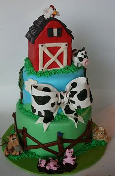 LOVE the cow bow! And Everything Sweet: Baby Shower Cake: Farm Themed! Farm Birthday Cakes, Birthday Ideas, Boy Birthday, Birthday Parties, Farm Cake, Barnyard Cake, Cake Name, Fondant Bow, Farm Party