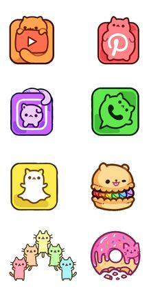 Cute Animal Drawings Kawaii, Cute Little Drawings, Cute Cartoon Drawings, Kawaii App, Kawaii Anime, Logo Animal, Cute App, App Icon Design, App Logo