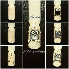 Winter Nails Designs - My Cool Nail Designs Owl Nail Art, Bird Nail Art, Nail Art Noel, Owl Nails, Minion Nails, Funky Nail Art, Crazy Nail Art, Animal Nail Art, Funky Nails