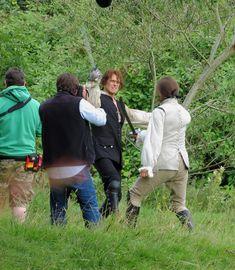 Outlander films fight scene in Glasgow's Pollock Country Park 18-8-2015