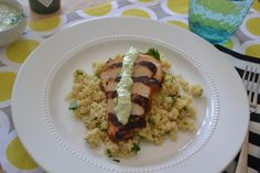 Healthy Recipe | Blackened Chicken w/ a Cool Avocado-Yogurt Sauce served w/ Cilantro-Lime Quinoa