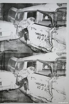 Warhol, Ambulance Disaster, 1963  •From death and disaster series  •By repeating image he numbs us to tragedy.  •The silkscreen is a process that Warhol uses and allows technical glitches/disruptions: off-registration, smudging, etc.  oThere's a horrible content in the subject matter that is restated by a faulty production method.