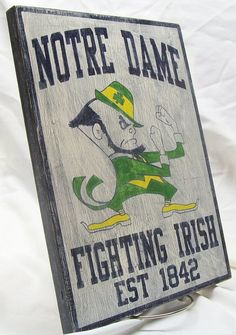 Notre Dame Fighting Irish wall sign 12 1/4 by Route66VintageSigns, $25.00