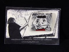 Collectible Porcelain HandPainted Cat Wearing Beret Brooch Pin New Gift #Corinne