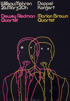 Dewey Redman Quartet - Marion Brown Quartet (Hand Signed) by Troxler, Niklaus Japanese Graphic Design, Vintage Graphic Design, Graphic Design Posters, Typography Layout, Typography Prints, Typography Poster, Paula Scher, Brochure Design, Design Layouts