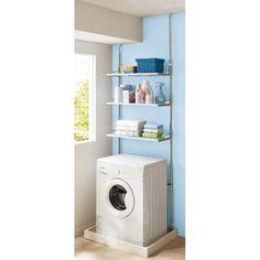 天井の梁や洗濯機(防水)パンの段差などで設置をあきらめていた方におすすめの突っ張り式の洗濯機ラック。圧迫感なく洗濯機上を収納にできるので洗面所がスッキリします。