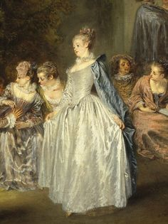 ▴ Artistic Accessories ▴ clothes, jewelry, hats in art - Jean-Antoine Watteau | Fêtes Venitiennes (detail)