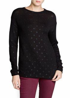 $44.99 nice MANGO Women's Polka-Dot Cotton-Blend Sweater
