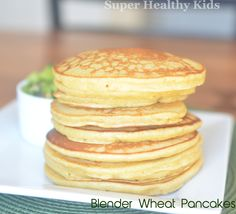 Blender wheat pancakes- 100% whole wheat kernels - from super healthy kids #pancakes #wholewheat