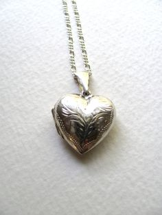 Sterling silver engraved vintage heart locket by MySoCalledVintage, $68.00