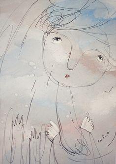 Ангел 2, серо-голубые цвета, оригинальный рисунок, (5,83 x 8,27 inches/ 14,8 х 21 cm)