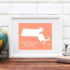 State Map Massachusetts Wedding Gift, New England Bridal Shower Gift, City State Map, Gay Wedding Gift, Gay Engagement Gift, Wall Art Print - pinned by pin4etsy.com