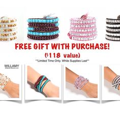 Get a FREE leather wrap bracelet with your purchase of $49 or more! Choose from 6 stunning handcrafted designs! Shop WillamyCollection.com (limited time offer, while supplies last!)