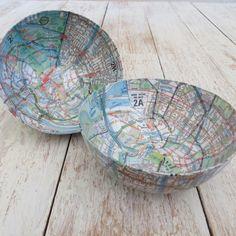 Papier-mâché Small Map Bowl