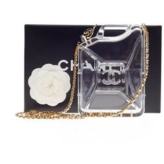 Pre-Owned Chanel Dubai By Night Gas Can Minaudiere Clear Plexiglass (29,565 ILS) ❤ liked on Polyvore featuring bags, handbags, clutches, clear, colorful purses, blue handbags, pre owned handbags, chanel clutches and woven handbags