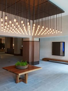 Contemporary Lighting Pendants in a Lobby