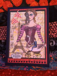 Character Constructions stamps, card created by Kris Petersen for Lyn. Eiffel Tower Tim Holtz stamps