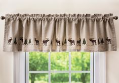 Moose Embroidered Valance - A Black Forest Decor Exclusive - Petite, detailed embroidered moose and pine trees create a charming forest scene on the lined cotton Moose Embroidered Valance inspired by Maine artist Harry Smith. Home Curtains, Rustic Curtains, Moose Decor, Black Forest Decor, Log Home Decorating, Cabin Kitchens, Lodge Style, Timber House, Rustic Interiors
