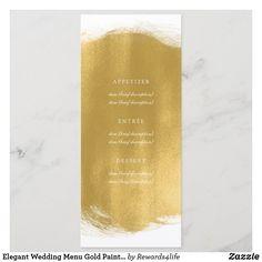 Elegant Wedding Menu Gold Paint Look Wedding Dinner Menu, Wedding Menu Cards, Wedding Invitation Design, Wedding Stationery, Menu Signage, Xmas Greetings, Menu Design, Response Cards, Gold Paint