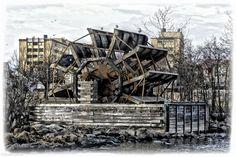 Water wheel in Fredrikstad, Norway