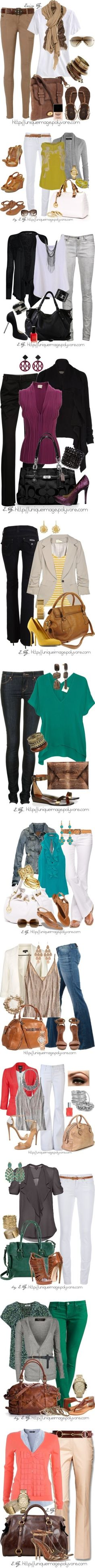 Like dark pants sets- wish I could wear white pants! Summer into fall- I really need this guide!