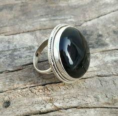 Black Onyx Ring in Sterling Silver. Pure 925 Sterling Silver Ring with Black Onyx Gemstone. Bridesmaid Rings, Friendship Rings, Black Onyx Ring, Bohemian Rings, Silver Rings Handmade, Anniversary Rings, Stone Rings, Sterling Silver Earrings, Gift