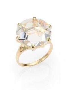 Ippolita Gold Gemma Collection Clear Quartz and 18k Yellow Gold Medium Ring
