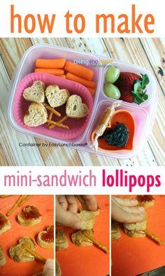 Mini-Sandwich Lollipops (tutorial). Packed for lunch in @EasyLunchboxes