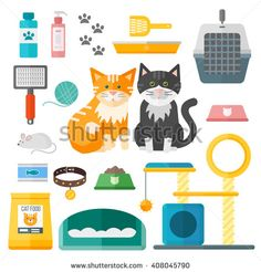 Pet supplies cat accessories animal equipment care grooming tools vector set. Cat accessories and food, domestic feline cat accessories. Cartoon animal kitten safety cat grooming accessory.