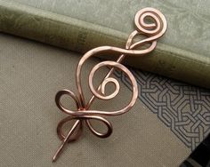 Celtic Budding Spiral Copper Shawl Pin, Scarf Pin, Sweater Brooch, Fastener, Closure, Hair Pin Celtic Accessory - Hammered Wire Metal, Women