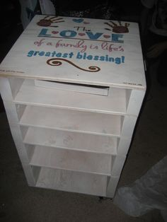 Christmas gift for the kids to get involved. Made from scrap wood for scrapbook paper.