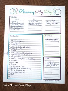 """Free """"Planning My Day"""" printable- This is one I think I'd actually be able to implement."""